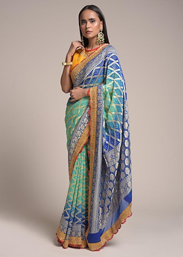 Turquoise And Blue Shaded Saree In Georgette With Bandhani Print And Brocade Mesh Design Online - Kalki Fashion