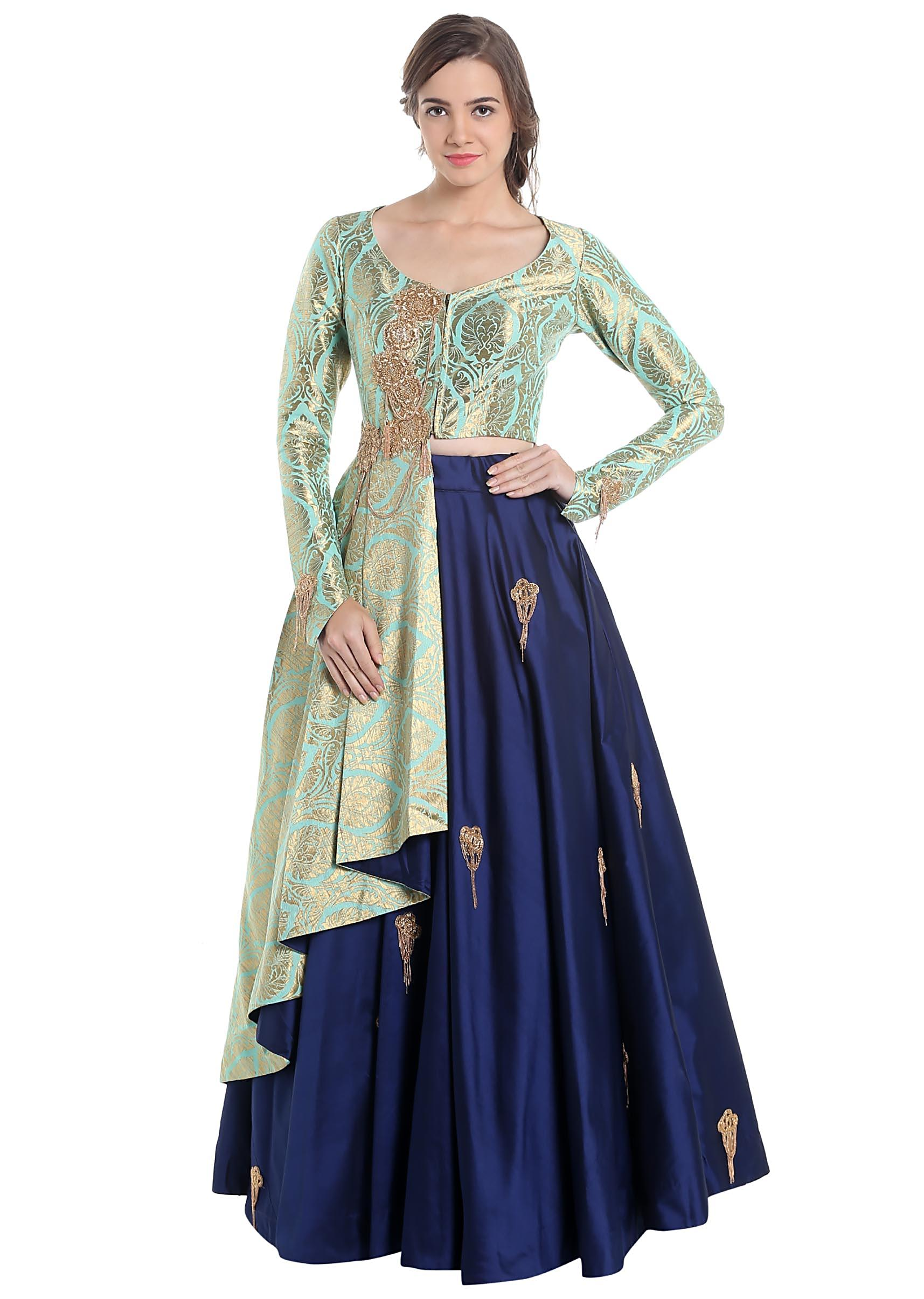 2f9887a340 Turquoise and navy blue lehenga choli with brocade work only on KalkiMore  Detail