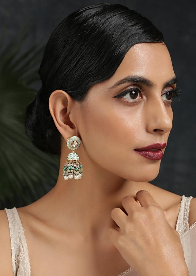 Turquoise Classic Jhumkas With Victorian Onyx, Enamel Work And Dangling Bead Fringes By Paisley Pop
