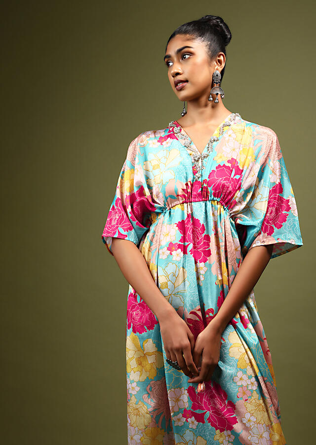 Turquoise Kaftan Dress In Crepe With Multi Colored Floral Print And Zardosi Embroidered Placket Online - Kalki Fashion
