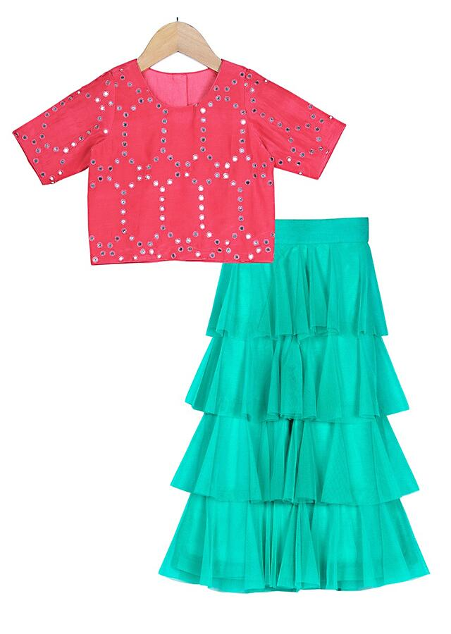 Turquoise Pants With Layered Frill And Abla Embroidered Coral Red Crop Top Online - Free Sparrow
