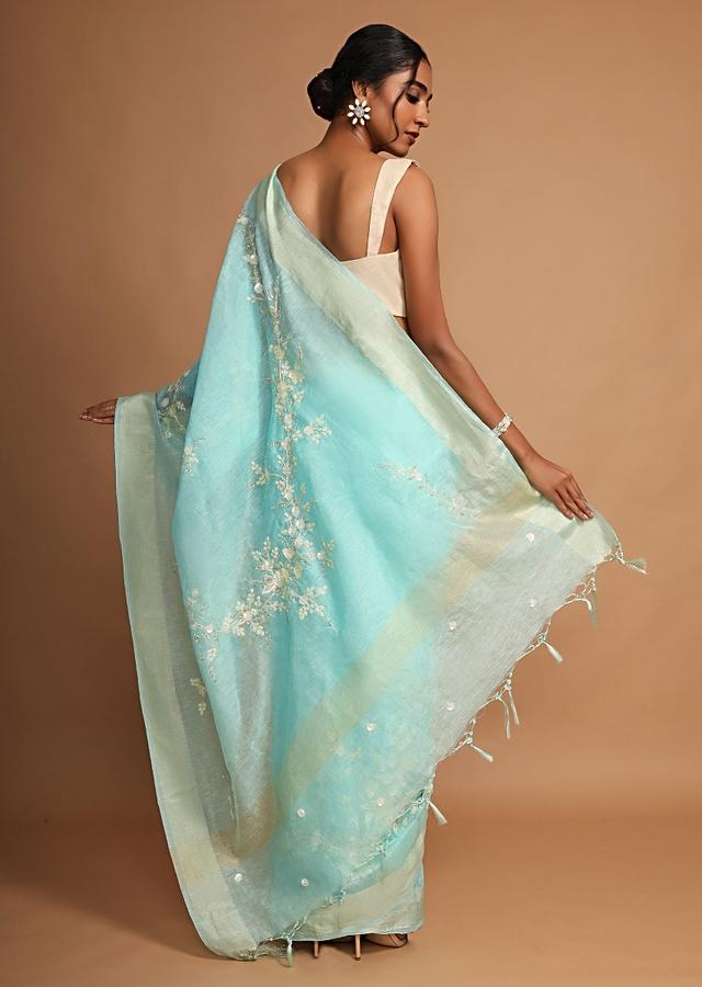Turquoise Saree In Linen With Sequins And Resham Embroidered Floral Design Online - Kalki Fashion