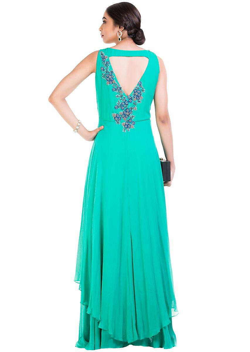 5b5c280cd3f2 Turquoise Sleeveless Double Layer Cocktail gown
