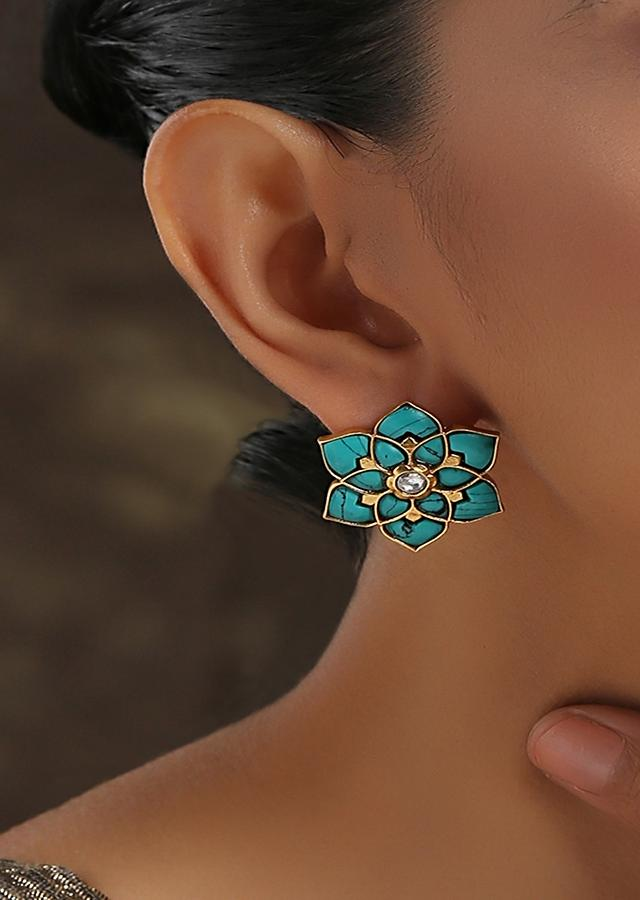 Turquoise Studs In Floral Motif With Turquoise Stones And Kundan At The Centre By Paisley Pop