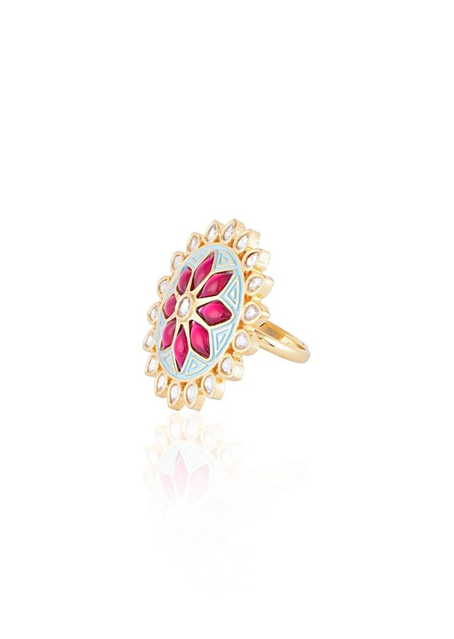 Turquoise Enamelled Round Ring With Kundan And Red Pota Stones In Floral Design By Aster