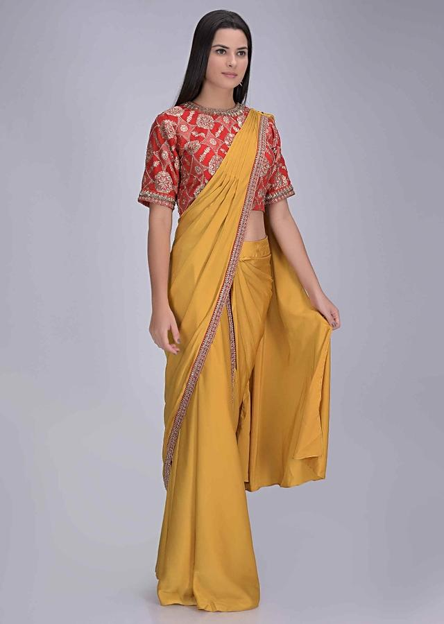Tuscan Sun Yellow Ready Pleated Saree In Satin With Red Georgette Brocade Blouse Online - Kalki Fashion