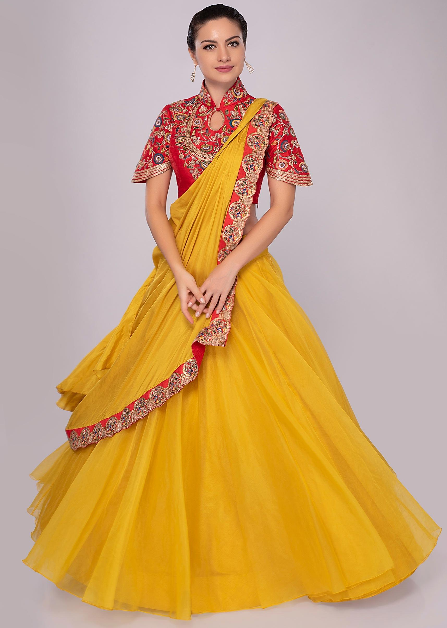 Tuscan yellow lehenga with draped dupatta paired with red blouse only on KalkiMore  Detail 0a33a2312
