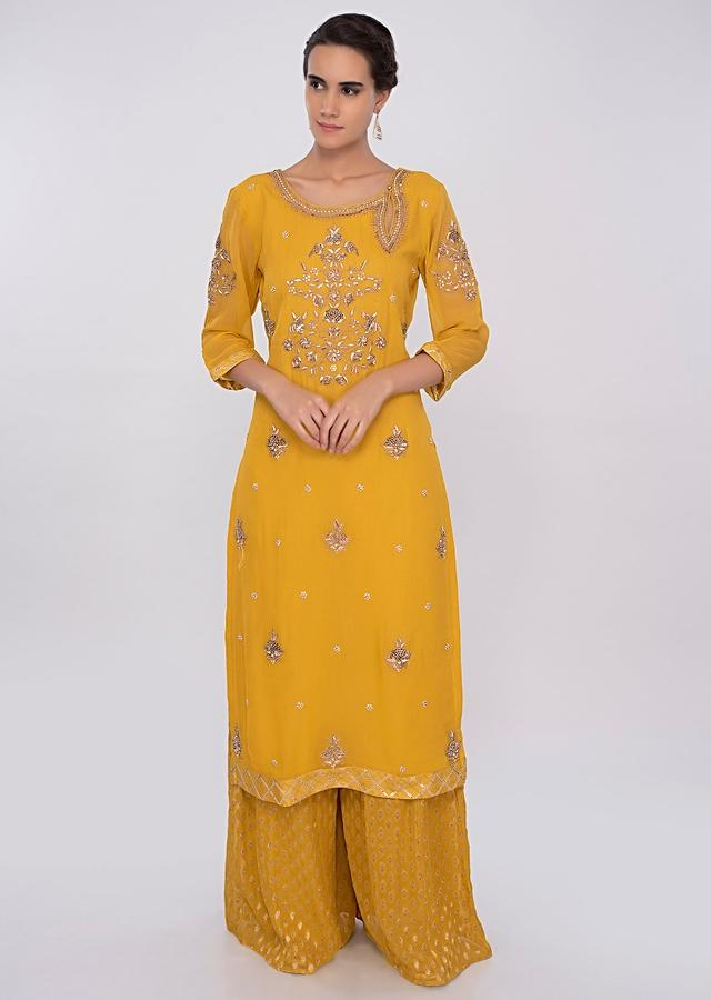 Tuscan Yellow Palazzo Suit Set With Embroidery Online - Kalki Fashion