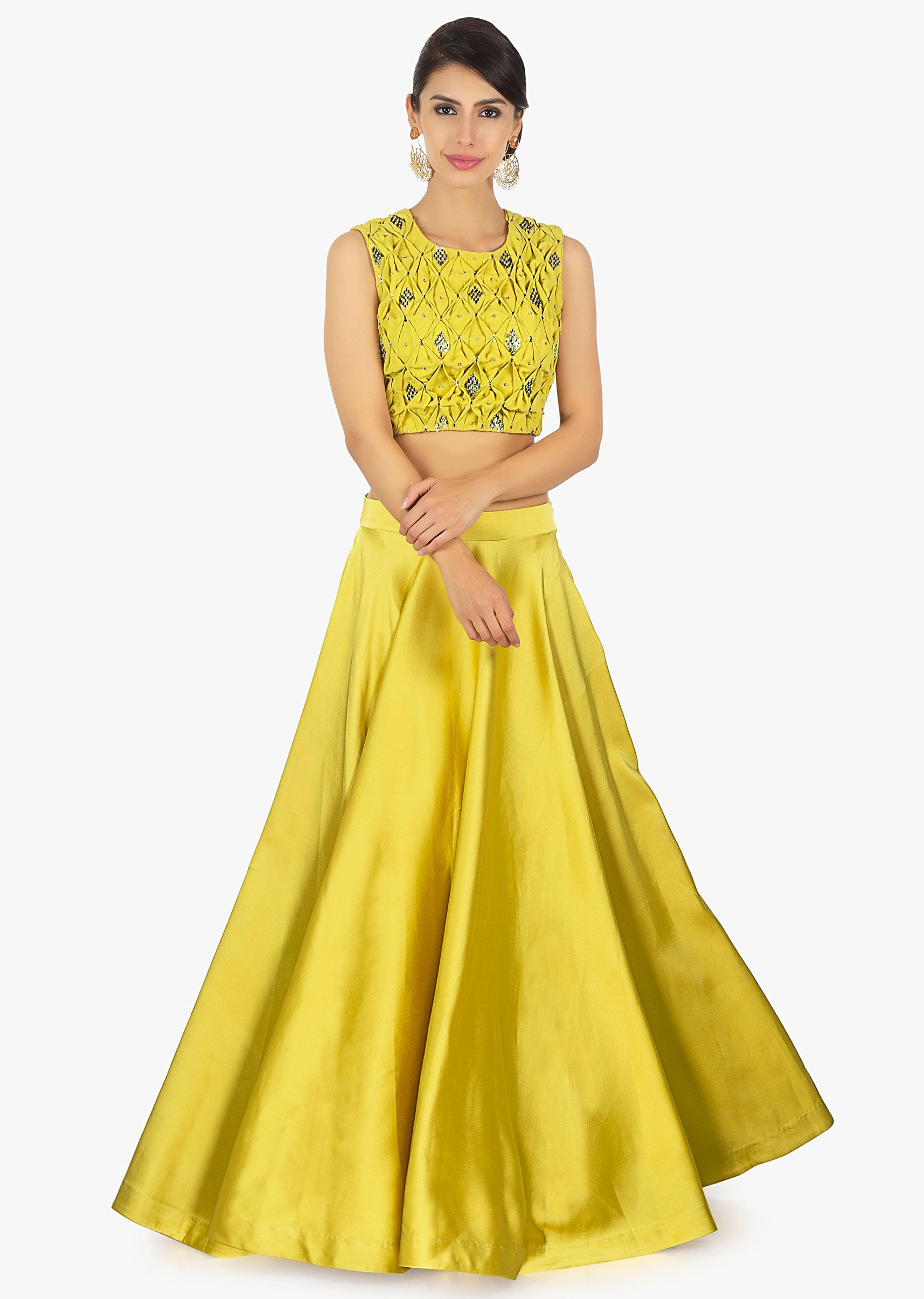 5cda445905402 Tuscan yellow satin skirt paired with matching georgette smocked blouse only  on KalkiMore Detail