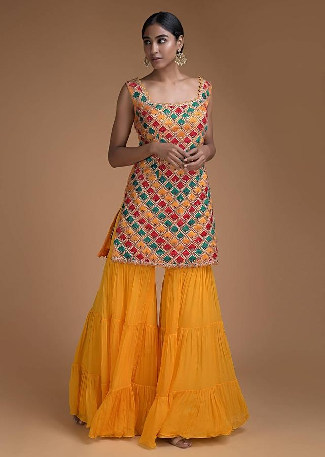 Tuscan Yellow Sharara Suit In Net With Multi Colored Silk Patchwork And Punch Pink Dupatta Online - Kalki Fashion