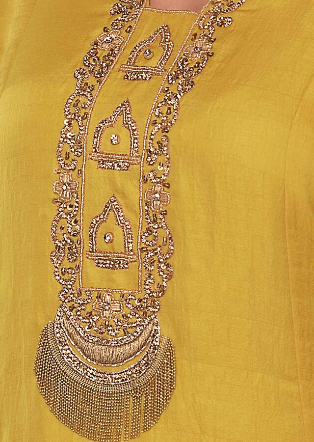 Tuscan Yellow Tunic Dress With Embroidered Neck And Placket Online - Kalki Fashion