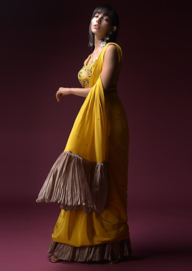 Tuscan Yellow Ready Pleated Saree With Leaf And Floral Cut Mirror Work Online - Kalki Fashion