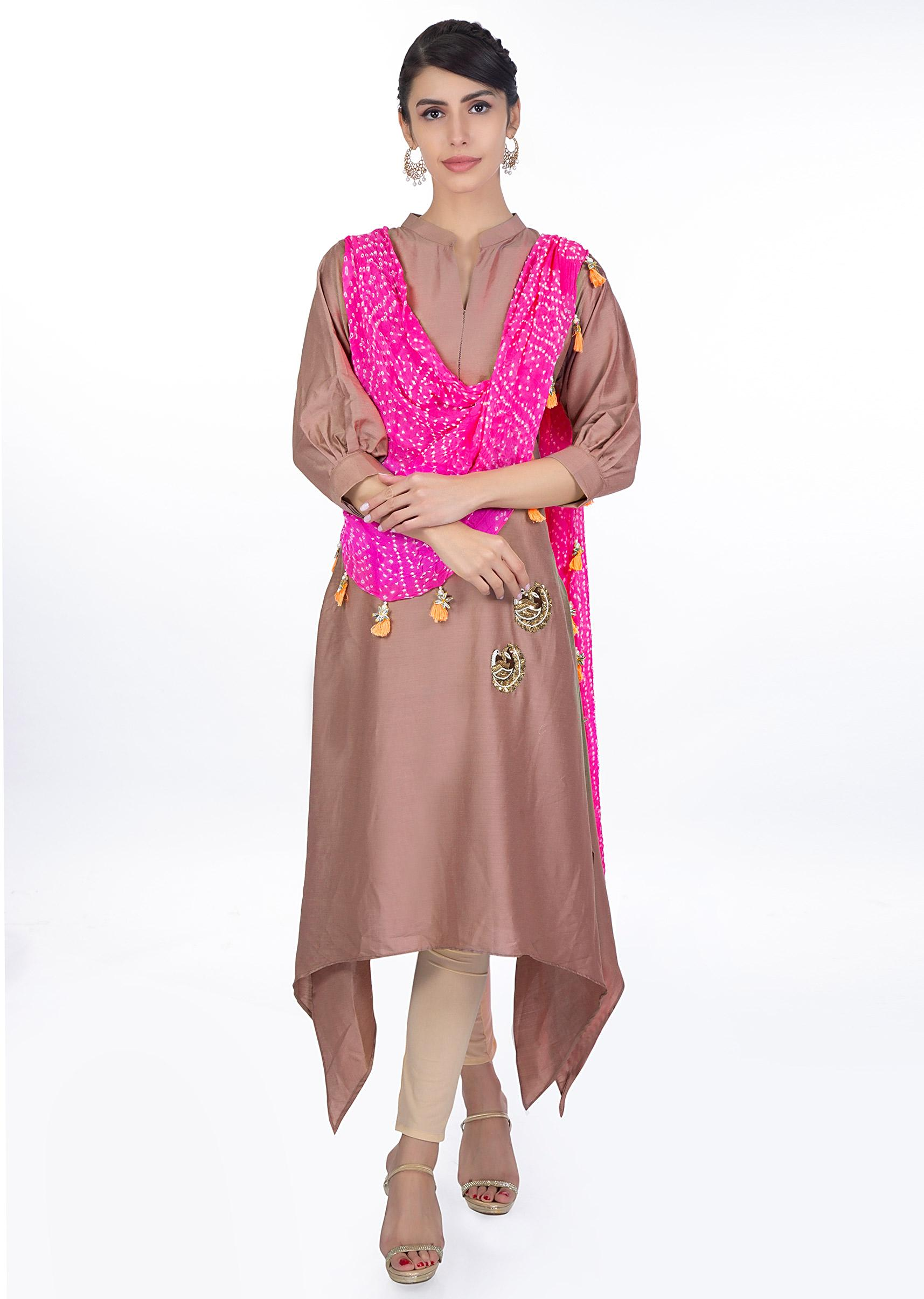 b53f91dfd56 Tuscany brown kurti with a pre attached pink bandhani dupatta only on  KalkiMore Detail