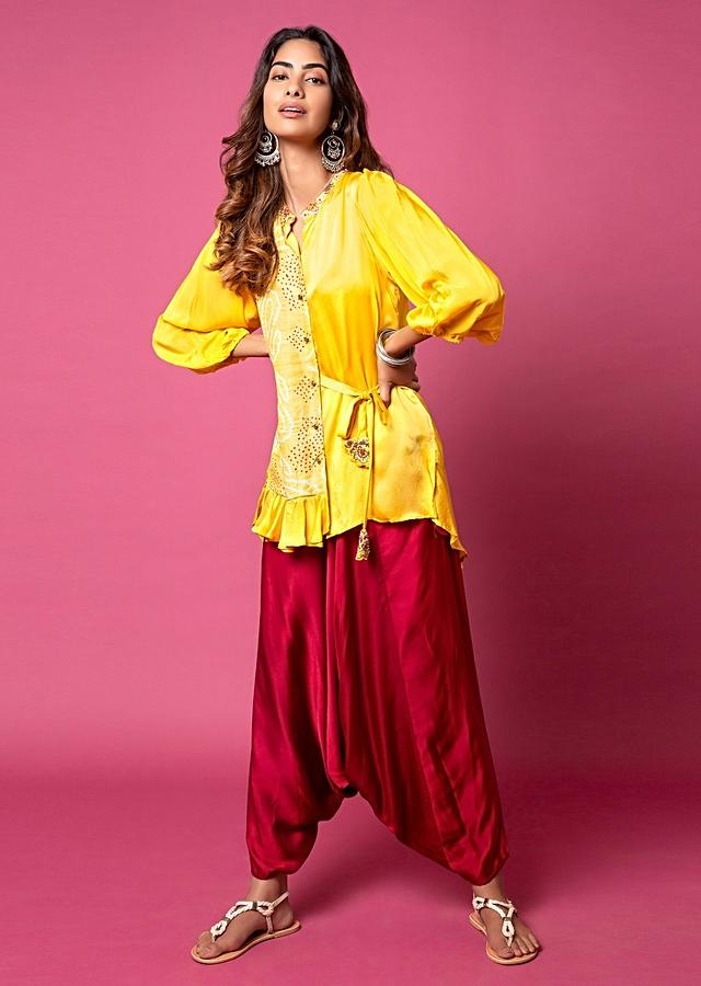 Tuscany Yellow Frill Shirt With Bandhani Printed Paisley Motifs, Puff Sleeves And Paired With Scarlet Red Cowl Pants Online - Kalki Fashion
