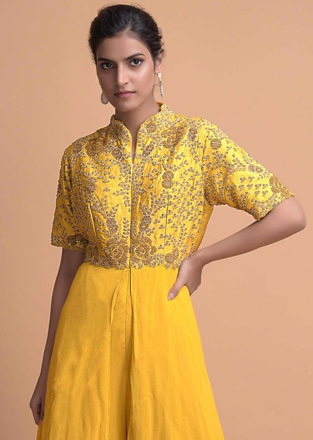 Tuscany Yellow Jumpsuit With Georgette Layers On The Bottom And A Raw Silk Bodice Online - Kalki Fashion