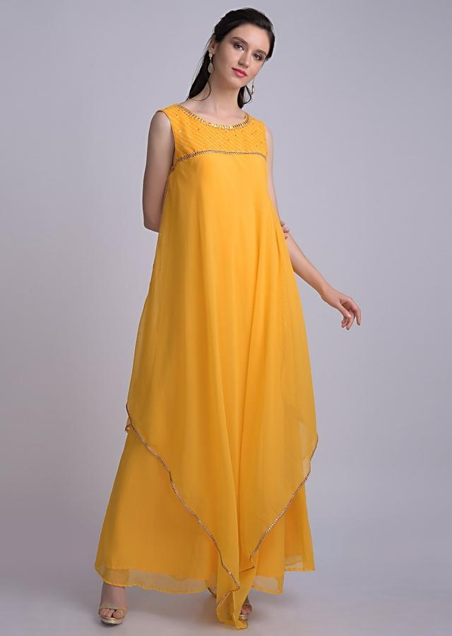 Tuscany Yellow Tunic In Georgette With Symmetric Cut Layer Online - Kalki Fashion