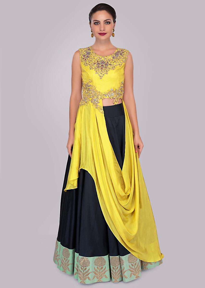 75ab2160fec40 Twilight blue crepe skirt paired with tuscan yellow fancy crop top draped  from the waist only on KalkiMore Detail