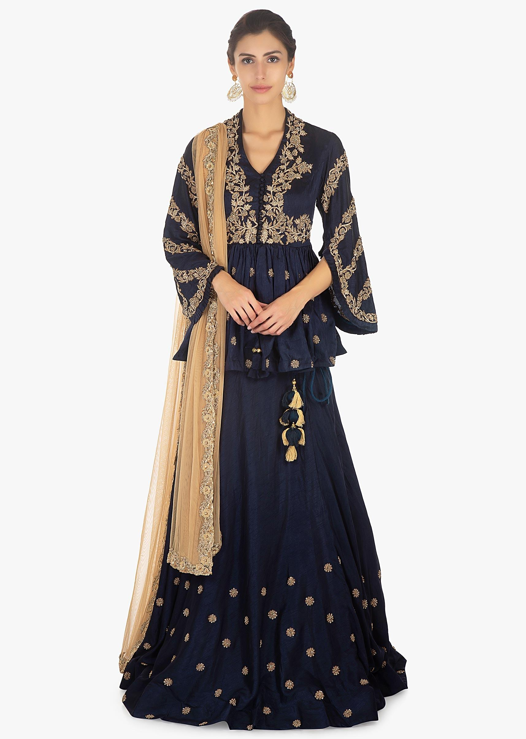 e9ea4042dbb74 Twilight blue raw silk skirt paired with embellished peplum top only on  Kalki