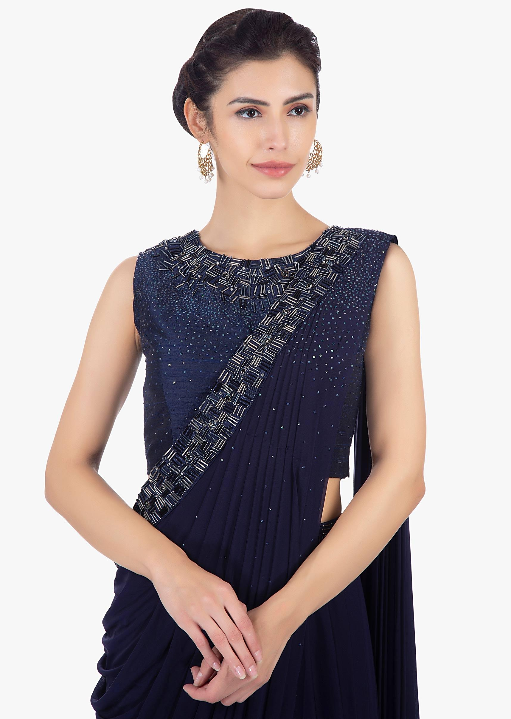 2a7d1df0a26 Twilight blue ready plated lycra saree skirt paired with matching raw silk  blouse only on Kalki