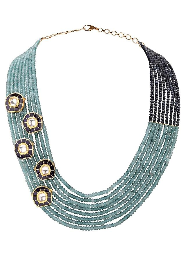 Twin Shaded Blue Multi Strand Necklace And Earring Set With Kundan And Enamel Work Online - Joules By Radhika