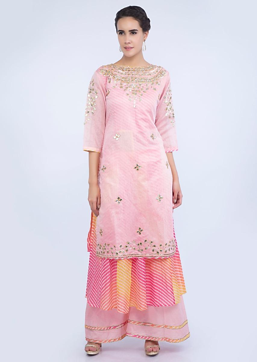 cffb6d7ace Two layer embroidered pink suit with matching palazzo and dupatta only on  Kalki