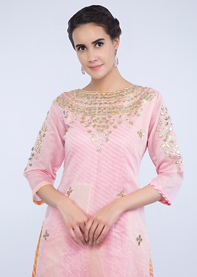 Pink Layered Suit With Embroidery Work And Matching Palazzo And Dupatta Online - Kalki Fashion