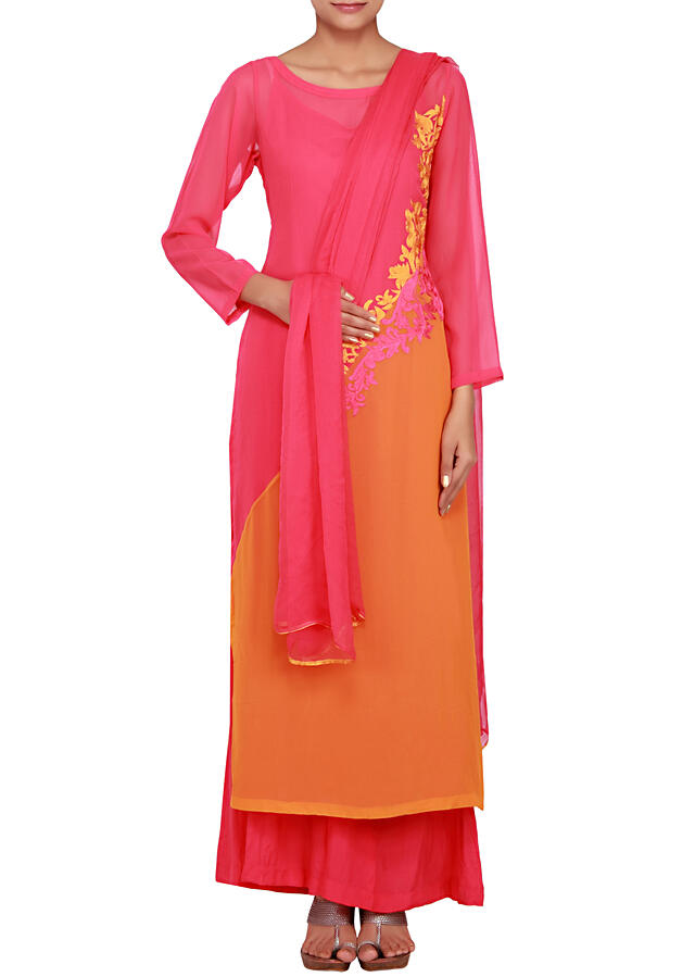 Two-toned orange and fushia georgette straight cut salwaar kameez embellished in resham embroidery only on Kalki
