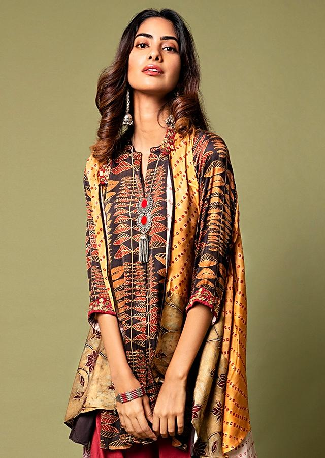 Umber Brown Ajrakh Printed Shirt With A Bandhani Cape And Deep Red Cowl Pants Online - Kalki Fashion
