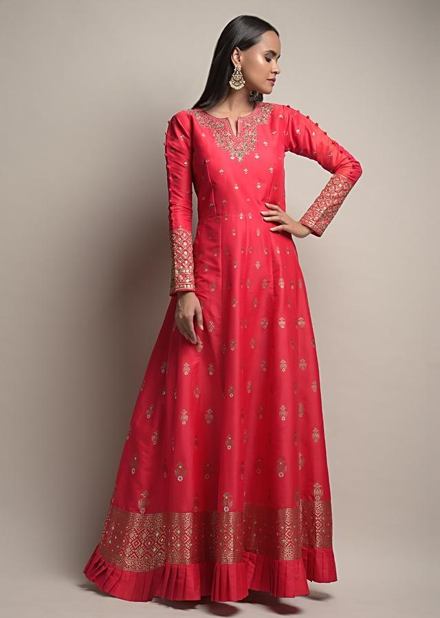 Valentine Red Anarkali Suit In Silk With Woven Floral Buttis And Yellow Patola Dupatta Online - Kalki Fashion