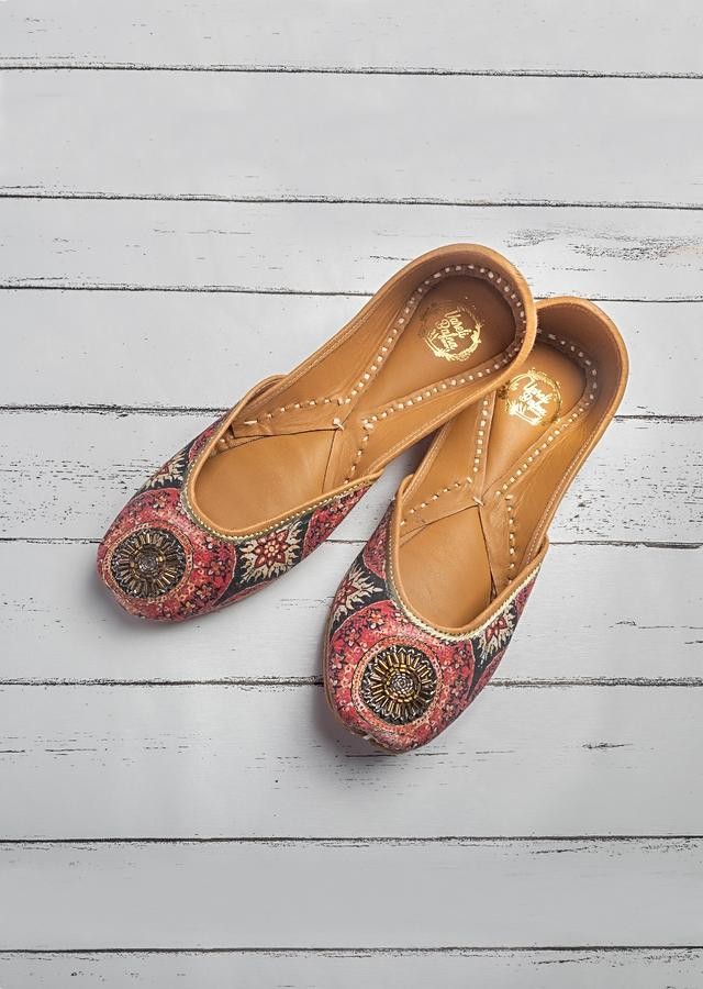 Multi Colored Juttis In Customized Printed Cotton Satin With Zardosi Embroidery Detailing By Vareli Bafna