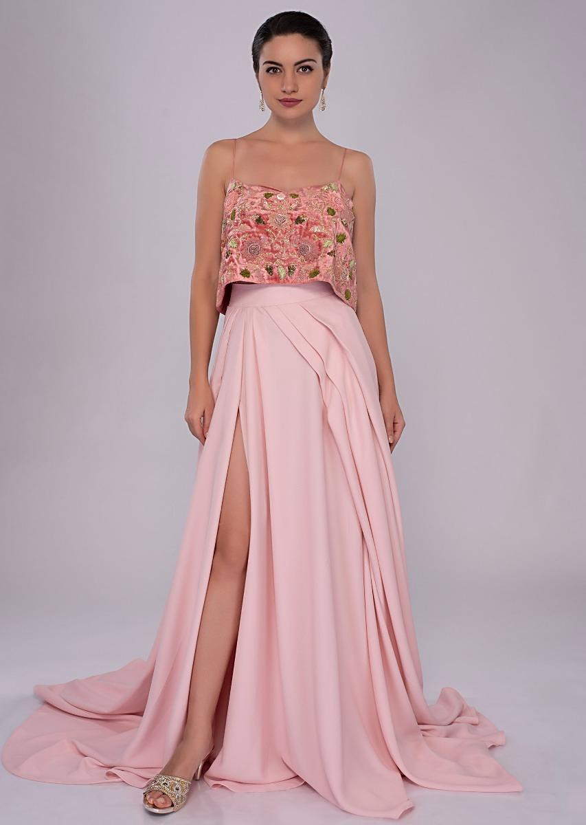 d74620fb1476e4 Velvet strap crop top paired with pastel pink flared skirt with slit only  on Kalki