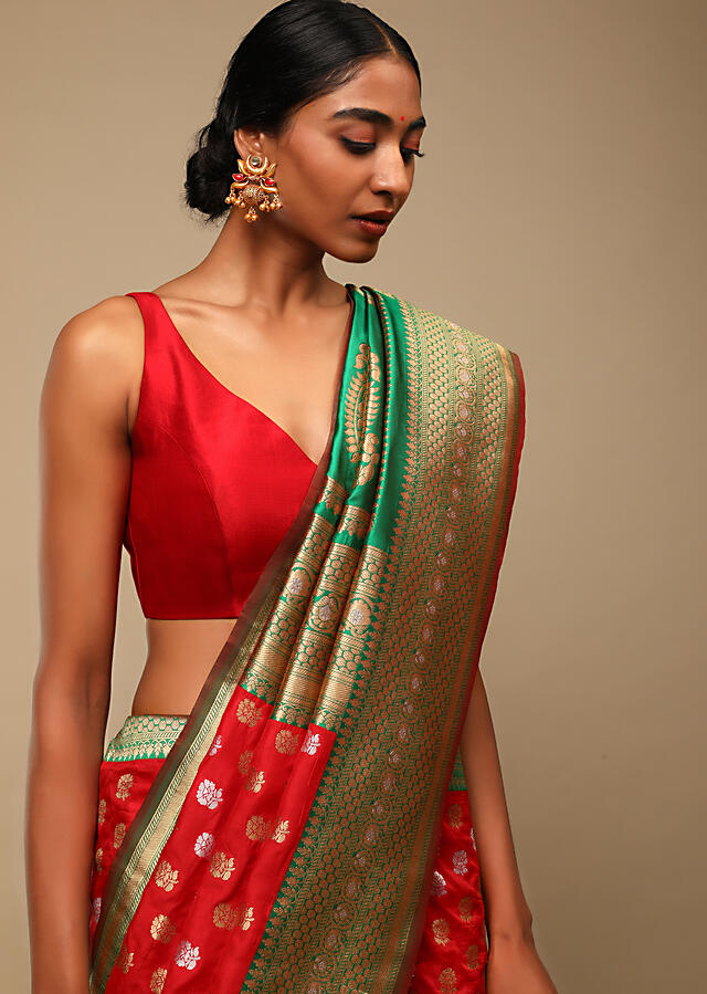 Vermillion Red Saree In Pure Handloom Silk With Green Woven Border And Two Toned Buttis Along With Unstitched Blouse Online - Kalki Fashion