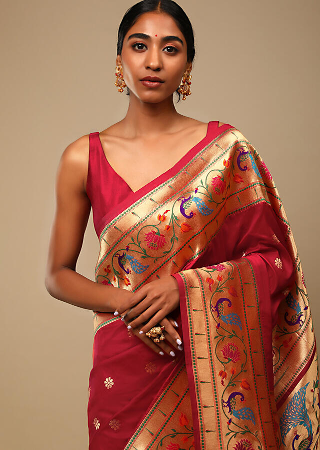 Vermillion Red Saree In Pure Handloom Silk With Woven Multi Colored Peacock Motifs On The Border, Floral Buttis And Unstitched Blouse Online - Kalki Fashion