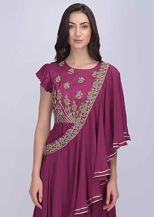 Victorian Rose Pink Dress In Cotton Silk And Crepe With Fancy Drape Online - Kalki Fashion