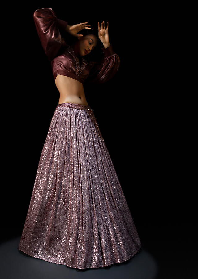 Vintage Rose Pink Sequins Lehenga With A Balloon Sleeves Crop Top Featuring Embroidered Lapel Collar Neckline Online - Kalki Fashion
