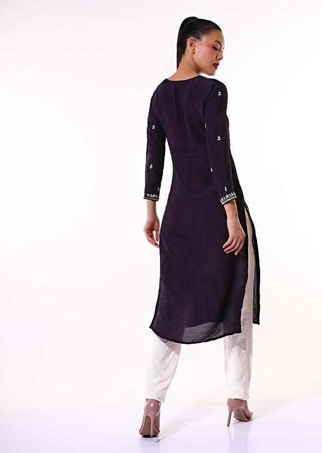 Violet Kurti In Cotton Silk With Thread Embroidered Yoke And Butti Work In Floral Motifs Online - Kalki Fashion