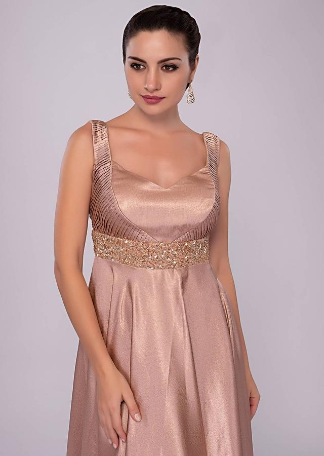 Warm Taupe Brown Gown In Milano Satin With Embroidered Empire Line Online - Kalki Fashion