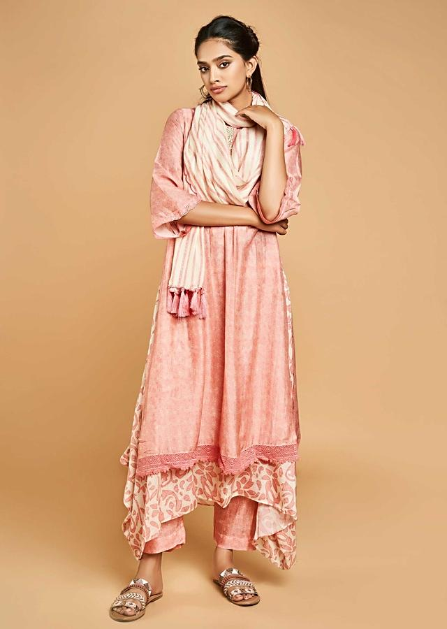 Watermelon Pink A Line Suit In Cotton With Self Print And Floral Printed High Low Under layer Online - Kalki Fashion