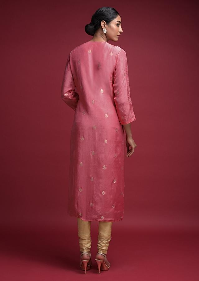 Watermelon Pink Kurti In Cotton Silk With Weaved Buttis And Gotta Patch Work Online - Kalki Fashion