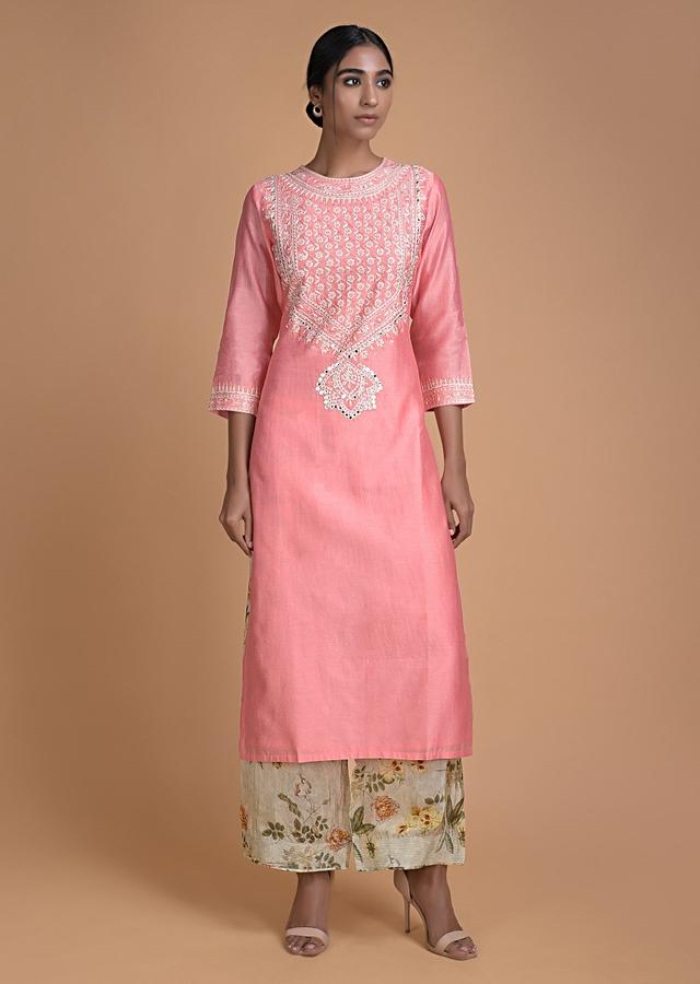 Watermelon Pink Straight Cut Suit With Embroidered Bodice And Floral Printed Bottoms Online - Kalki Fashion
