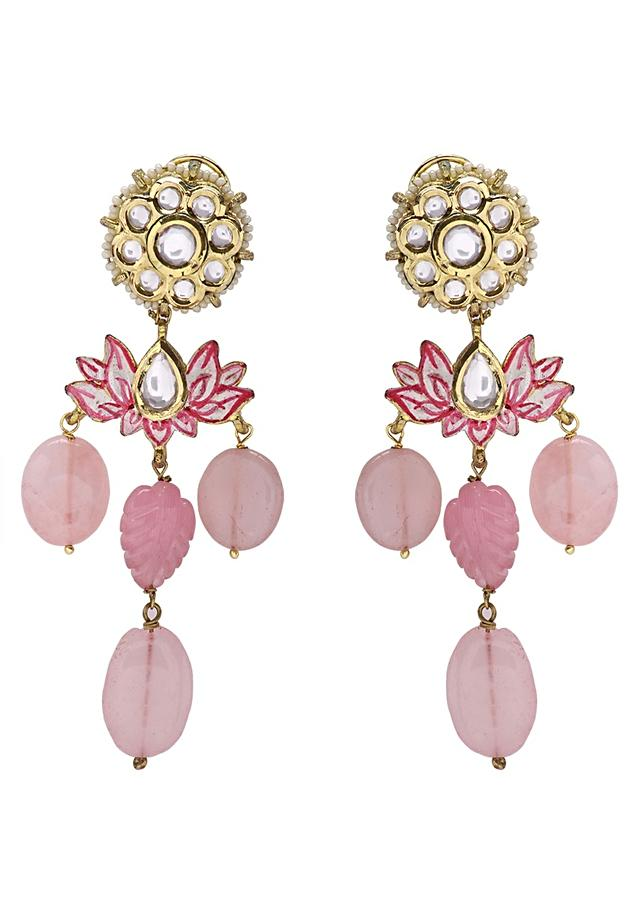 Wedding Kundan Earring And Necklace Set With Pink Stones Online - Joules By Radhika