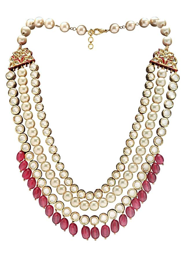 Wedding Kundan Earring And Necklace Set With Red Semi Precious Drops And Pearls Online - Joules By Radhika