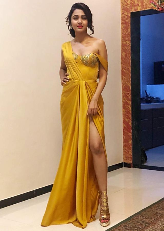 Mustard Gown With Corset Embroidered Bodice And High Slit Online - Kalki Fashion