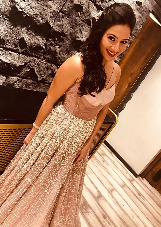 Kanchi Kaul In Kalki Lavender Strap Gown With Ruching And Sequins