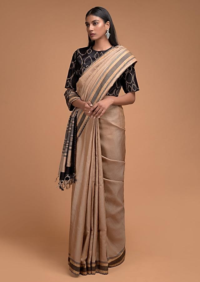 Wheat Beige Saree In Plain Jute Silk And Black Blouse With Thread Embroidered Leaf Motifs Online - Kalki Fashion