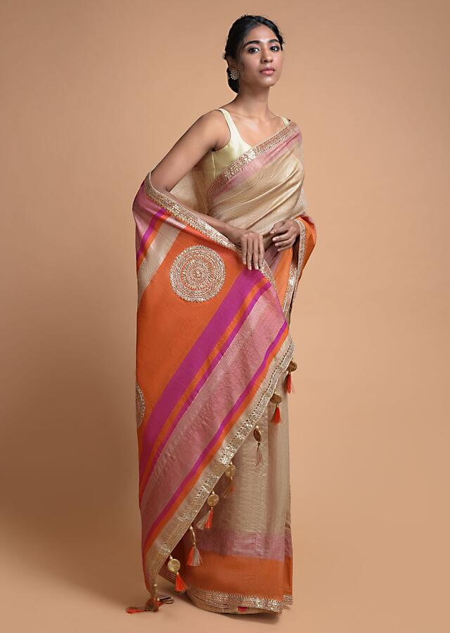 Wheat Beige Saree In Tussar Silk With  Pink And Orange Weaved Border Online - Kalki Fashion