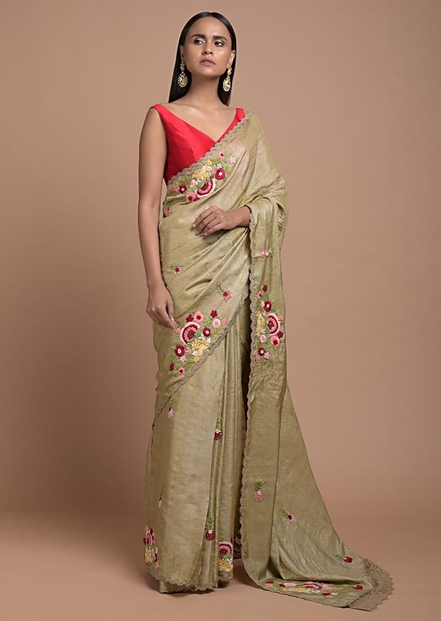 Wheat Beige Saree In Tussar Silk With Hand Embroidered Colorful Thread In Floral Motifs Online - Kalki Fashion