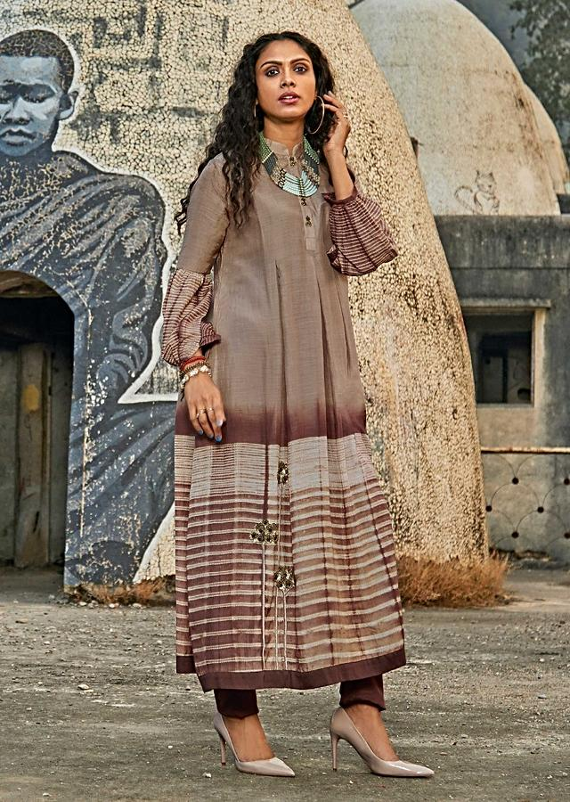 Wheat Brown A Line Suit In Cotton With Printed Stripes Online - Kalki Fashion