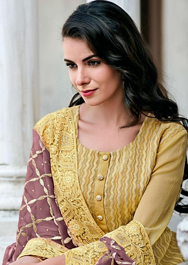 Wheat Brown Straight Suit In Georgette With Curve Embroidered Line Online - Kalki Fashion