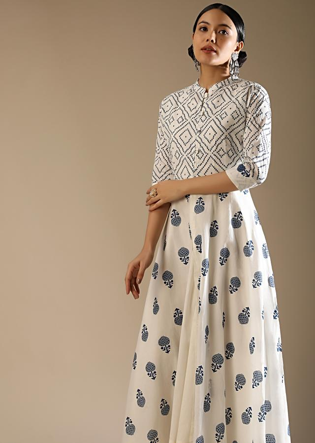 White A Line Front Slit Kurta Set In Cotton With Blue Printed Buttis And Geometric Motifs And Long Sleeveless Inner Online - Kalki Fashion